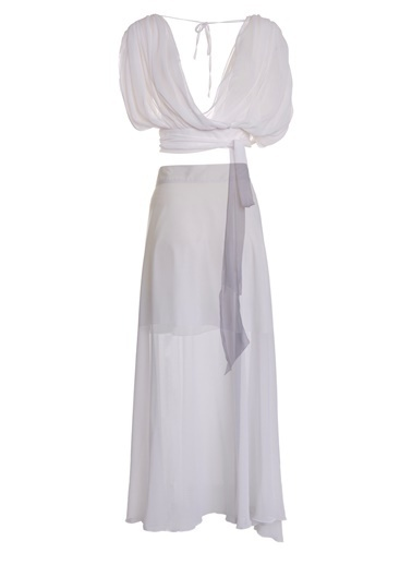 Women&Women Kısa Bluz ve Yırtmaçlı Uzun Etek Takım Beyaz